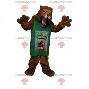 velmi divoký maskot lva se zeleným dresem - Redbrokoly.com