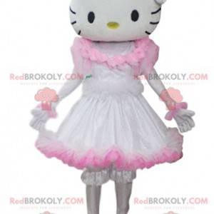 Mascotte Hello Kitty met een witte en roze jurk - Redbrokoly.com