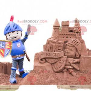Friendly knight mascot with his helmet and shield -
