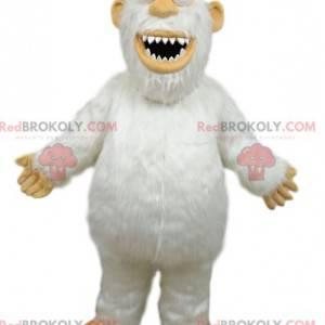 Maskot bílý Yeti s velkými zuby - Redbrokoly.com