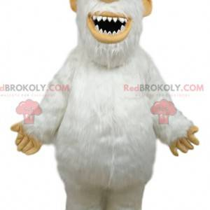 Maskot bílý Yeti s modrými a žlutými brýlemi - Redbrokoly.com