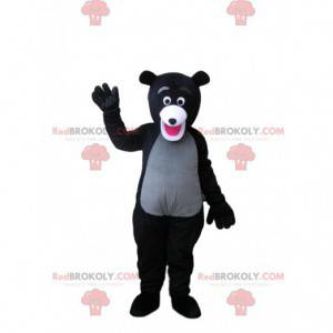 Sehr begeistertes Schwarz-Grau-Bären-Maskottchen -