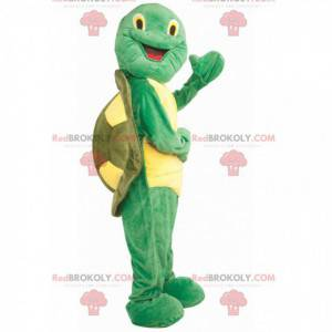 Mascote Franklin tartaruga verde e amarela - Redbrokoly.com