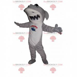 Maskottchen grauer und weißer Hai mit großem Kiefer -