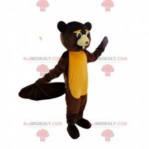 Mascot castor marrón y amarillo demasiado lindo - Redbrokoly.com