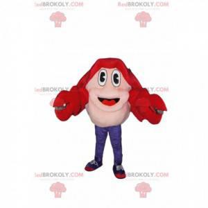Mascotte di granchio rosso molto entusiasta - Redbrokoly.com
