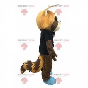Mascotte Fox con una maglia nera e occhiali da sole -