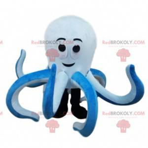 Maskottchen riesiger weißer und blauer Tintenfisch -