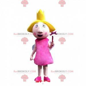 Víla maskot s pěkně růžovými šaty. Pohádkový kostým -