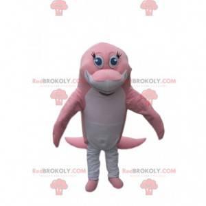 Mascotte delfino rosa e bianco che tocca - Redbrokoly.com