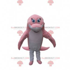 Růžový a bílý delfín maskot dojemné - Redbrokoly.com
