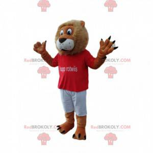 Fun lion mascot with a red supporter jersey - Redbrokoly.com