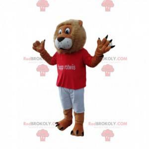 Zábavný maskot lva s červeným dresem - Redbrokoly.com