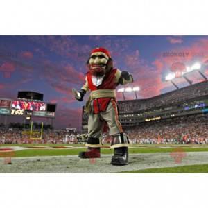 Mascote pirata em traje vermelho e cinza - Redbrokoly.com
