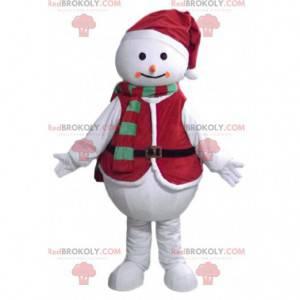 Mascotte pupazzo di neve con un vestito di Natale -