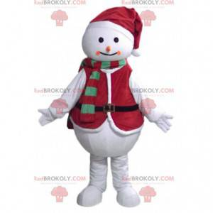 Snowman mascot with a Christmas outfit - Redbrokoly.com