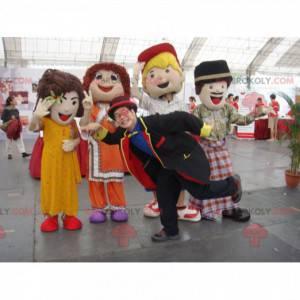 4 Maskottchen von Mädchen und Jungen mit bunten Kleidern -