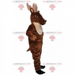 Majestic brown deer mascot with large antlers - Redbrokoly.com