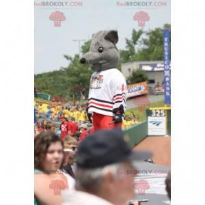 Myš maskot šedá krysa ve sportovním oblečení - Redbrokoly.com