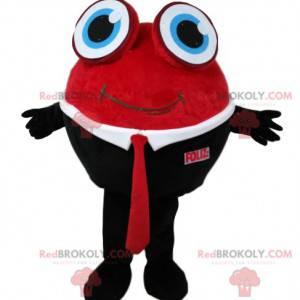 Rundes Schneemann-Maskottchen im roten und schwarzen