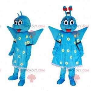 Blaues Schmetterlingsmaskottchen mit einem hübschen Kleid -
