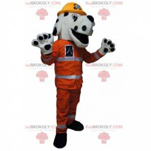 White and black dog mascot with an orange firefighter outfit -