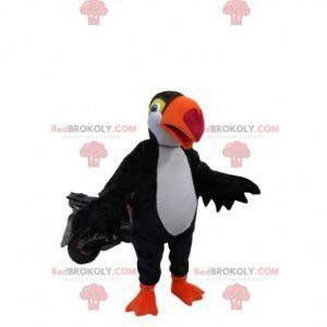 Maskot černobílý Tukan s krásným oranžovým zobákem -