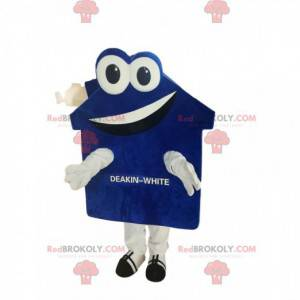 Very smiling blue and white house mascot - Redbrokoly.com