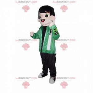 Maskotka stylowy młody chłopak z zieloną kurtką - Redbrokoly.com