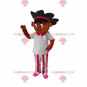 Maskot smíšené rasy dívka s krásnými vlasy - Redbrokoly.com