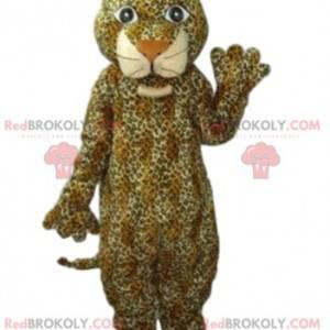 Leopardenmaskottchen mit einem großen Lächeln - Redbrokoly.com