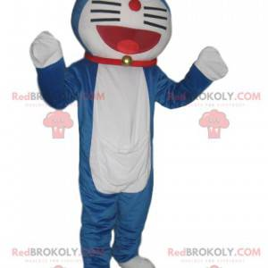 Very smiling blue and white cat mascot with a red collar -