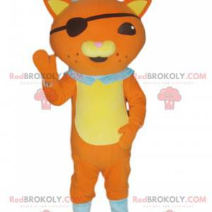 Orange cat mascot in pirate outfit with an eye patch -
