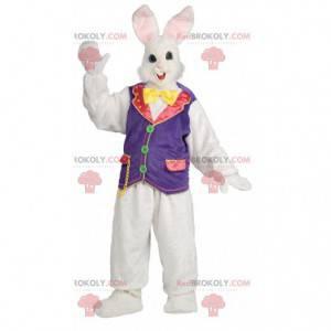 Maskott vakker hvit og rosa kanin med sirkusvest -