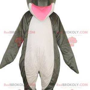 Mascote golfinho branco e cinza super feliz - Redbrokoly.com