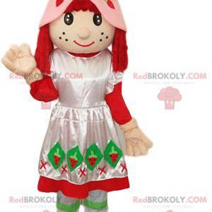 Erdbeer Charlotte Maskottchen mit einem Kleid und einem rosa