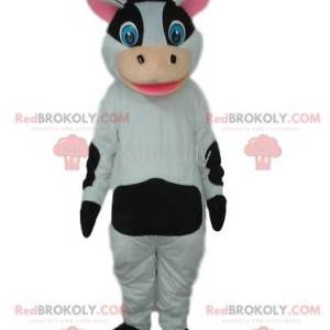 Černá a bílá kráva maskot s kloboukem - Redbrokoly.com