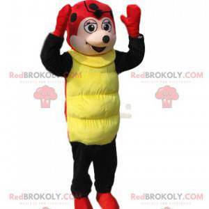 Mascot mariquita roja y negra con un pequeño hocico redondo -