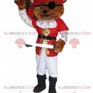Brunbrun bjørnemaskot med piratantrekk - Redbrokoly.com