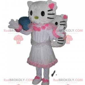 Hallo Kitty Maskottchen, mit einem hübschen weiß-rosa Kleid -