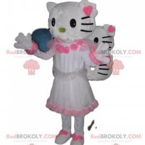 Maskot Hello Kitty s hezkými bílými a růžovými šaty -