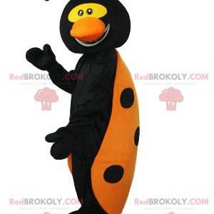 Mascota de mariquita negra y amarilla muy divertida -