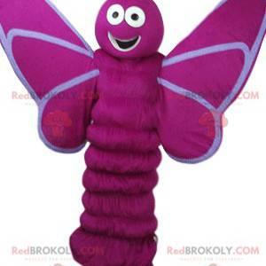 Mascota de la mariposa fucsia con una gran sonrisa -