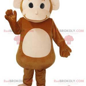 Mascot pequeño mono marrón y crema. Disfraz de mono -