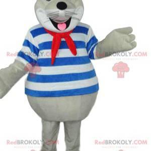 Velmi usměvavý maskot pečeť v námořnickém obleku -