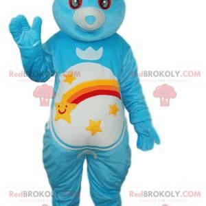 Maskot modrý medvěd s ohromenýma očima - Redbrokoly.com