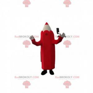 Maskot červená a krémová tužka. Kostým tužky - Redbrokoly.com