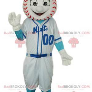 Mascota de personaje deportivo con cabeza de béisbol. -