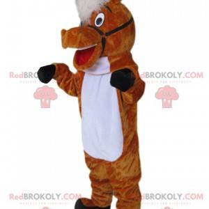 Super enthusiastic brown horse mascot - Redbrokoly.com