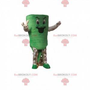 Green snowman mascot with a nasty look - Redbrokoly.com